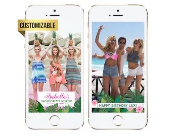 Beach Geofilter, Bachelorette/Birthday Snapchat Geofilter, Palm Leaves Beach Snapchat geofilter, Tropical geofilter