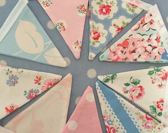 Cath kidston fabric mini bunting, banner,flag,pennant,shabby chic,wedding,event,bedroom,garden bunting