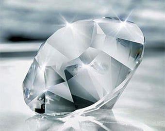 Crystal Diamond Chaton- Diamond cut Shaped Paperweight Chaton-Silver Crystal Chaton-Crystal Diamond-Vintage Crystal-Silver Bay Crystals