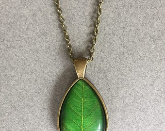 Green Leaf Pendant Necklace - Glass Water Drop Pendant Necklace - Antique Bronze Necklace