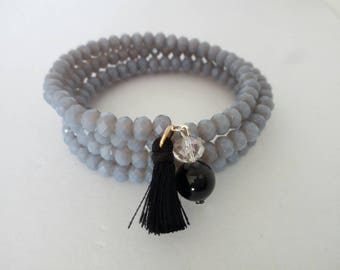Bracelet with pendant, valentine's day, valentine's day gift, gift idea, gift for her, handmade, gray.