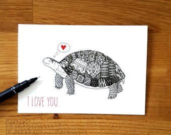 Tortoise in love card | Anniversary card