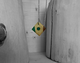 Necklace/pendant/green wood resin square pendant