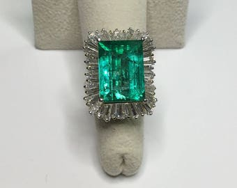 Estate Antique GIA Platinum 15.37 CTW Columbian Emerald & Diamond Pendant Ring