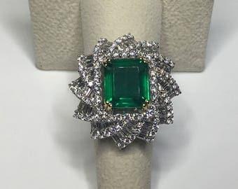 Estate GIA 18K White Gold 7.87 CTW Columbian Emerald & Diamond Cocktail Ring