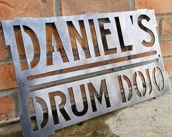 Custom Drum Room Sign - Drum Dojo, Snare Drum, Drum Sticks, Custom Metal Sign, Personalized