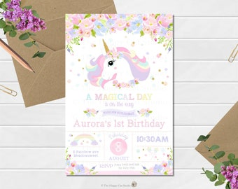 Unicorn Invitation, 1st Birthday Party, Personalized, Printable, Digital Print Download, First, Floral, Watercolor, Rainbow, Pastel, Cute