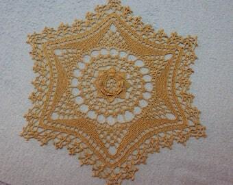 Round doily, caramel color, handmade crochet, diameter 40 cm