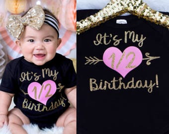 Baby Girl's It's My Half Birthday Bodysuit, Half Birthday Shirt, Half Birthday Outfit, 1/2 Birthday, Halfway To One Outfit, 1/2 Bday Outfit