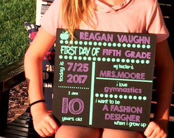 Back To School Chalkboard,Reversible,Reusable Sign