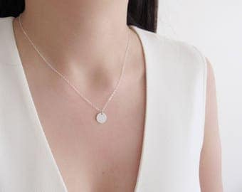 Silver initial necklace, dainty silver necklace, silver disc necklace, initial necklace, personalized monogram necklace