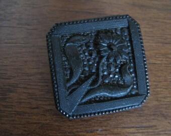 Beautiful antique button glass black square 22 mm