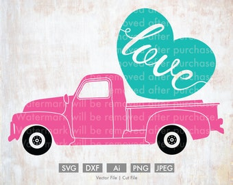Valentine Truck Load of Love - Cut File/Vector, Silhouette, Cricut, SVG, PNG, Clip Art, Download, Holidays, Hearts, Valentine's Day, Candy