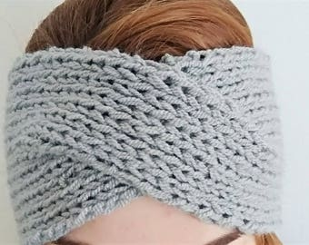 Grey cross headband