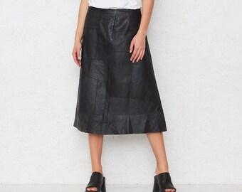 Vintage Black Leather Midi Skirt/ Size Medium
