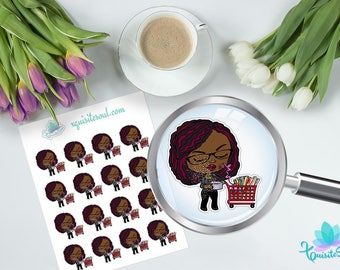 Michaels Shopping Serwaa African American Planner Stickers / Black Girl Chibi Stickers