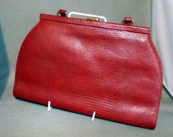 Tula red reptile effect leather kelly handbag