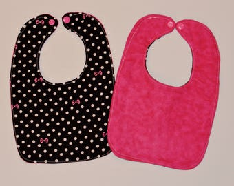 Pink Minnie Bow Black and White Baby Girl Bib