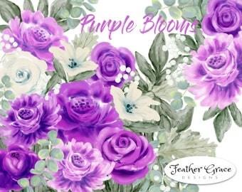 Watercolor Clip Art Wedding, Purple Roses, Peony, Peonies, Purple Flowers, Violet Roses Flowers, Brunia, Eucalyptus Dusty Miller Wedding DIY