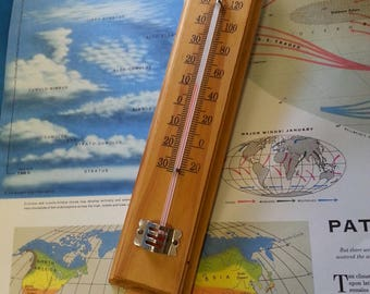 Vintage Thermometer Mounted on Wood / Retro Thermometer