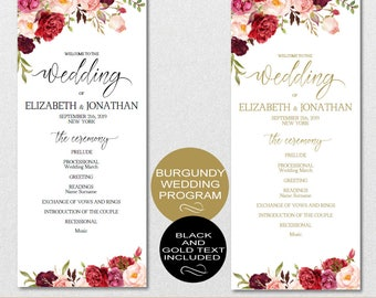Wedding Program Printable, Wedding Program Template - Floral Burgundy Peonies Wedding Program-DIY Editable PDF-DOWNLOAD Instantly | VRD137PL