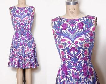 Vintage 60s floral romper / 60s pleated dress / printed culotte / vintage one piece / Mollie Parnis romper