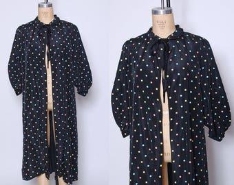 50s taffeta robe / polka dot dressing gown / black taffeta loungewear / 1950s robe