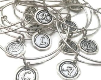 Letter Initials, Charm Bracelet, Silver Hand Stamped, Alphabet Bangles, Customized Jewelry, Personalized Gifts, Last Name, Custom Monogram
