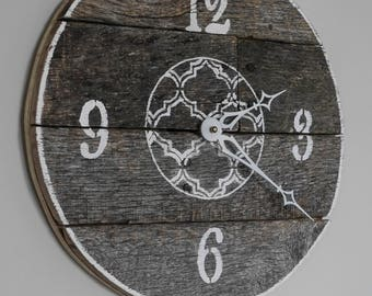 Cute 12'' reclaimed wooden clock