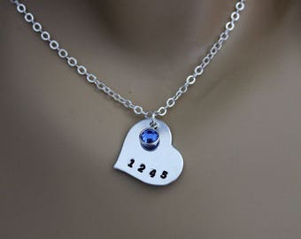 Police daughter etsy police wife police mom police daughter hand stamped heart necklace with blue swarovski crystal aloadofball Gallery