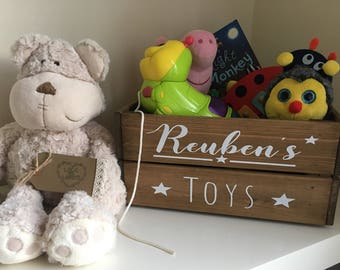 Personalised toy crate, toy box, rustic nursery decor, bedroom decor, playroom decor
