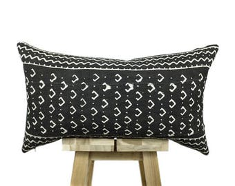 African Mudcloth Pillow Cover, Black and White | 'Amai'