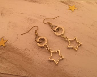 Gold Star Earrings | Dangle Earrings | Celestial | Star Jewelry | Space | Astronomy | Star Charms