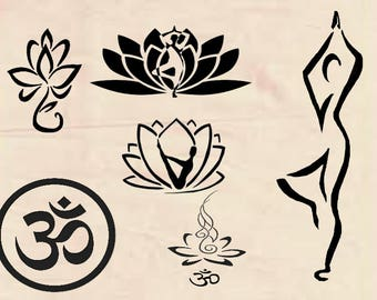 Yoga, lotus flower svg, Yoga SVG, DXF cutfiles, svg files for silhouette cameo, cricut explore, dxf file, yoga svg cutiles