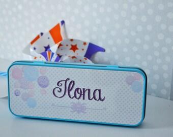 BOX Pencil Pouch personalized color blue