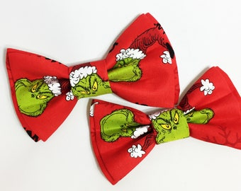 Bow Tie,Dad and Son Bow Ties, Christmas Bow Tie,Mens Bow Tie,Grinch Bowtie, Father Son Bow Ties, Boys Bow Tie, Snowmen,Bowtie,Bow Tie  DS735