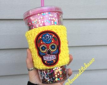 Sugar skull coffee sleeve, crochet cozy, travel mug cozy, mug sweater, skull travel cozy