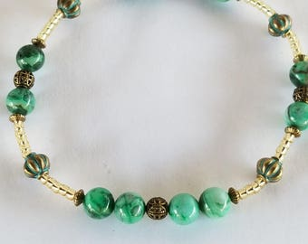 Anklets for Women Beach Summer Boho Anklets Gemstone Beaded Anklets Anklets Ankle Bracelet Green Crazy Lace AGATE stones Seed Beaded Anklets