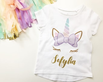 Unicorn tshirt, name top, unicorn shirt, named unicorn girls top, unicorn girls clothes, baby clothes, unicorn baby clothes, unicorn party