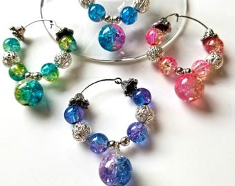 Set of 4 Bicolor Crackled Glass & Silver Plate Filigree Beaded Wine Glass Charms