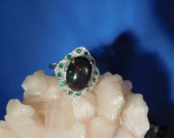 4.07 ct. Oval Cabochon Black Opal and Chrome Diopside Art Deco Style Sterling Silver