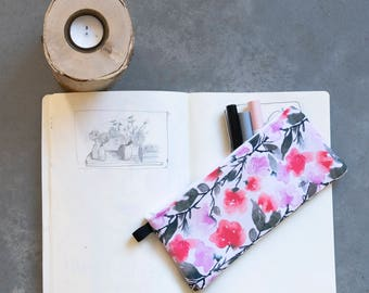 Pencil organiser, gift for her, under 20, watercolor art, floral art, makeup bag, romantic style, slim pouch, under 30,  pouch with zipper