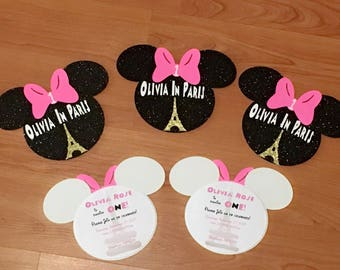Minnie Mouse Invitations/Minnie Mouse in Paris Invitations