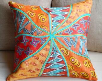 Orange Linen pillow cover outdoor pillow cover Summer linen pillow case Colorful Pillow Sofa cushion Patio cushion cover art orange pillow
