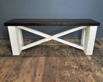 SALE Wood Farmhouse Bench, Dining Table Bench, Entryway Bench, Distressed White Chalk Paint, Dark Brown Finish, Rustic Cottage Decor