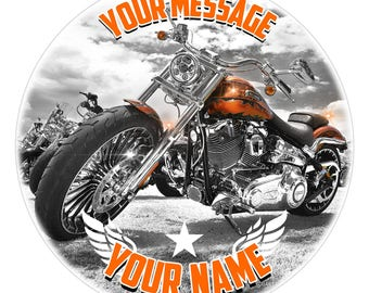 Chopper Motorcycle Personalised Edible Icing. Birthday Bike Cake Topper Decoration 7.5""