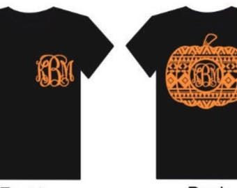 Personalized Pumpkin Monogram Womens Kids Halloween Shirt
