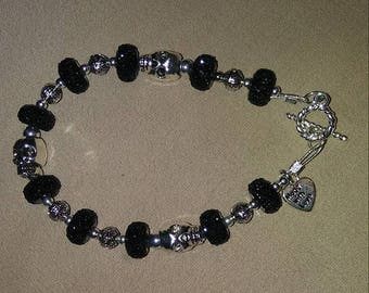 Silver Plated Skull Bracelet with Rondelle Beads