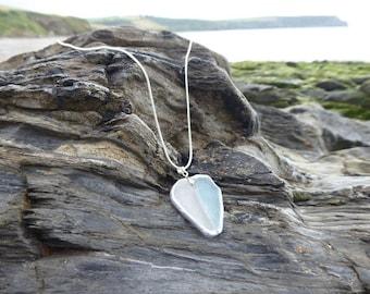 Cornish sea glass aqua / pale blue pastel necklace pendant on a silver chain
