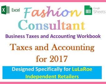 Fashion Consultant Business 2017 Taxes, Accounting Expenses, Revenue, Profit - Excel Workbook Spreadsheet